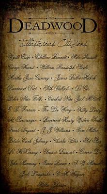 Deadwood Illustrious Citizen Roster Poster by Daniel Hagerman