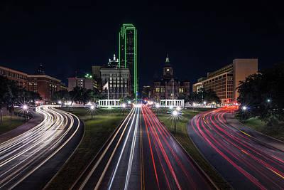 Dealey Plaza Dallas At Night Poster