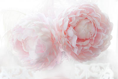 Dreamy Shabby Chic Baby Pink White Pastel Peonies - Romantic Baby Pink Peonies Decor Poster