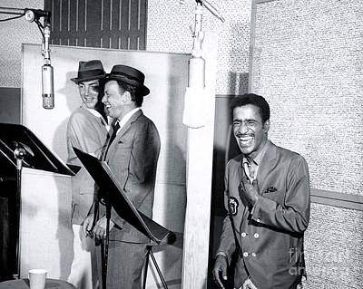 Dean Martin, Frank Sinatra And Sammy Davis Jr. At Capitol Records Studios Poster