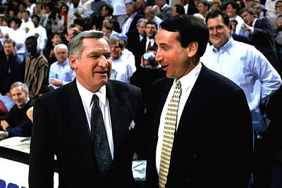 Dean Smith And Mike Krzyzewski Poster by Brian Reaves