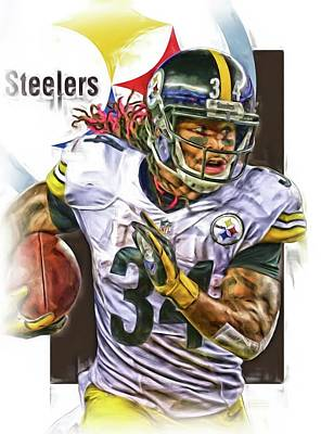 Deangelo Williams Pittsburgh Steelers Oil Art Poster by Joe Hamilton