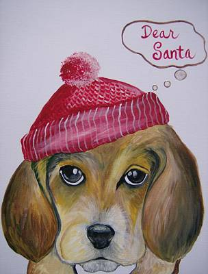 Poster featuring the painting Dear Santa by Leslie Manley