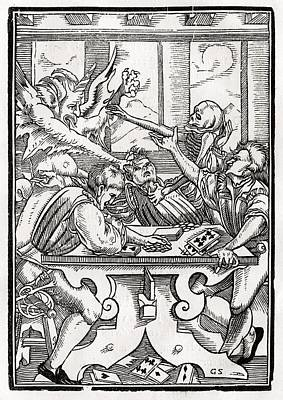 Death And The Devil Come For The Card Poster by Vintage Design Pics