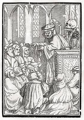 Death Comes For The Preacher Woodcut By Poster by Vintage Design Pics