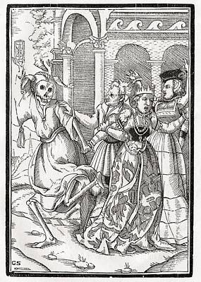 Death Comes For The Queen Woodcut By Poster by Vintage Design Pics