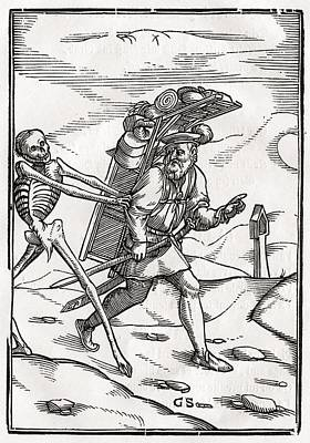 Death Comes To The Pedlar Woodcut By Poster by Vintage Design Pics