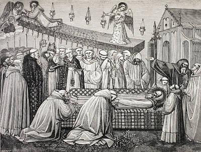 Death Of Saint Benedict Of Nursia Or Poster by Vintage Design Pics