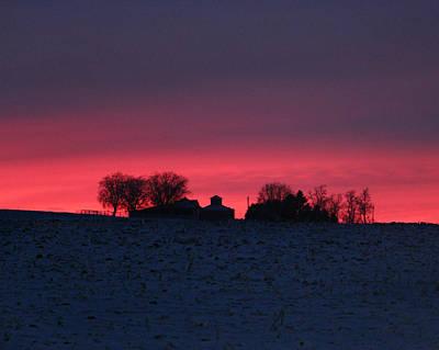 December Farm Sunset Poster by Kathy M Krause