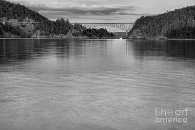 Deception Pass Sunset Black And White Poster