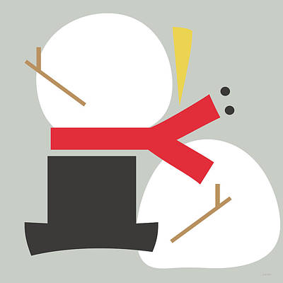 Deconstructed Snowman- Modern Art By Linda Woods Poster by Linda Woods