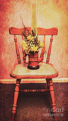 Decorated Flower Bunch On Old Wooden Chair Poster by Jorgo Photography - Wall Art Gallery