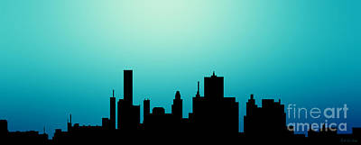 Decorative Abstract Skyline Houston R1115a Poster