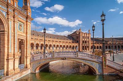 Decorative Bridge In Architectural Complex Of Plaza De Espana Poster by Jenny Rainbow