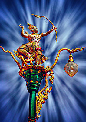Decorative City Lamp Post Khon Kaen-thailand Poster by Ian Gledhill