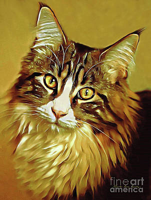Poster featuring the digital art Decorative Digital Painting Maine Coon A71518 by Mas Art Studio