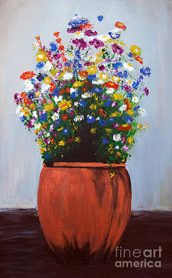 Poster featuring the painting Impressionist Wildflower Garden Painting A103017 by Mas Art Studio