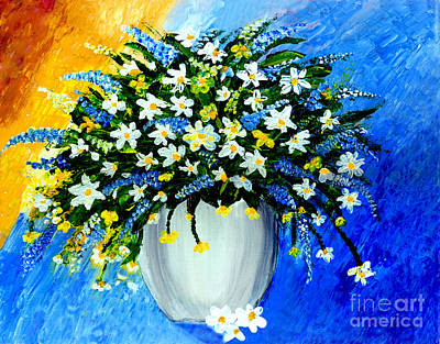 Poster featuring the painting Decorative Floral Acrylic Painting G62017 by Mas Art Studio