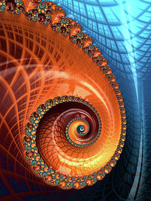 Poster featuring the digital art Decorative Fractal Spiral Orange Coral Blue by Matthias Hauser