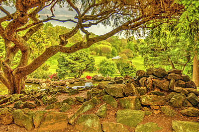 Deep Cuts Garden Gazebo And Landscape Poster by Geraldine Scull