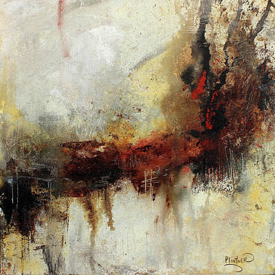Deep Earth Tone With Red Abstract Art Poster by Patricia Lintner