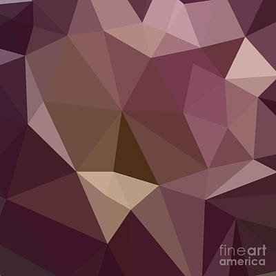 Deep Tuscan Red Purple Abstract Low Polygon Background Poster