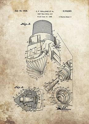 Deep Well Drill Bit Patent Poster by Dan Sproul