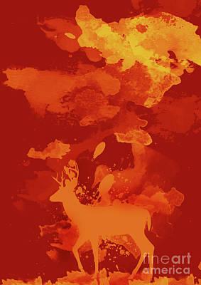 Deer Art Evening Poster