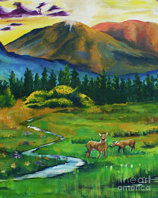 Deer At Dusk  Crop From Marks Farm Poster by Caitlin Lodato