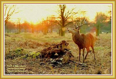 Deer At Sunrise H A With Decorative Ornate Printed Frame. Poster
