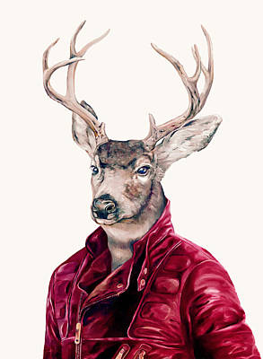 Deer In Leather Poster by Animal Crew