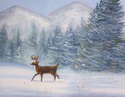 Deer In The Snow Poster by Denise Fulmer