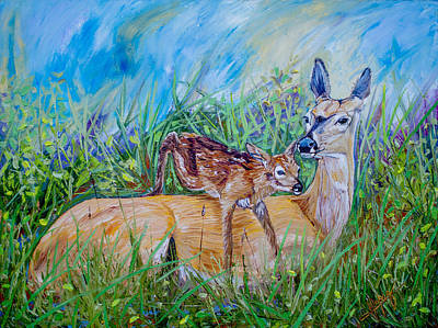 Deer Mom And Babe 24x18x1 Oil On Gallery Canvas Poster by Manuel Lopez