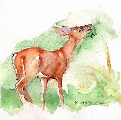 Deer Painting In Watercolor Poster by Maria's Watercolor