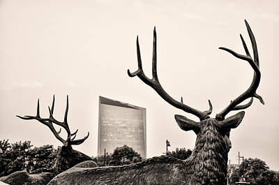 Deer Statues And The Cira Center In Sepia Poster