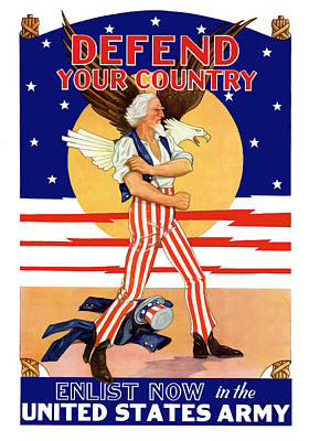 Defend Your Country Enlist Now  Poster by War Is Hell Store