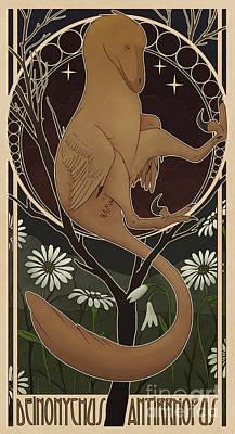 Deinonychus Antirrhopus Reconstructed Poster by Christian Masnaghetti