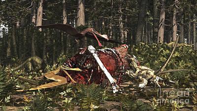 Deinonychus & Coloborhynchus Birds Feed Poster by Arthur Dorety