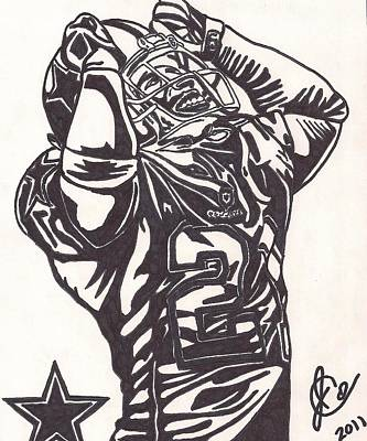 Poster featuring the drawing Deion Sanders by Jeremiah Colley