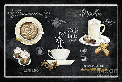 Poster featuring the painting Deja Brew Chalkboard Coffee Cappuccino Mocha Caffe Latte by Audrey Jeanne Roberts