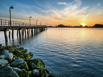 Del Norte Pier And Spring Sunset Poster by Greg Nyquist