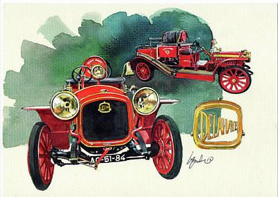 Delahaye 43hp Fire Engine  Poster by Yoshiharu Miyakawa