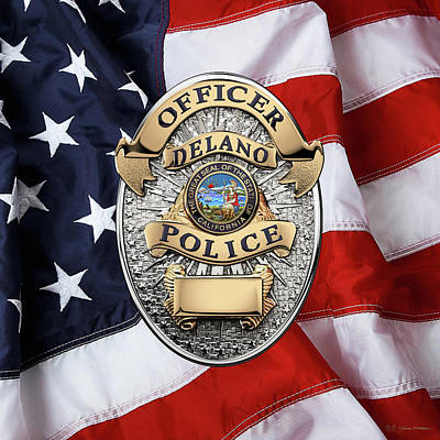 Delano Police Department - Officer Badge Over American Flag Poster