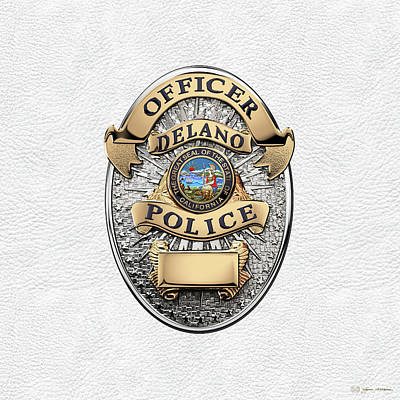 Delano Police Department - Officer Badge Over White Leather Poster by Serge Averbukh