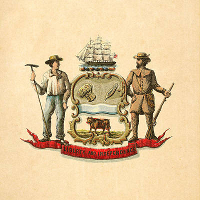 Delaware Historical Coat Of Arms Circa 1876 Poster by Serge Averbukh