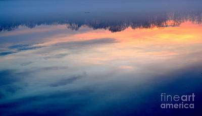 Delaware River Abstract Reflections Foggy Sunrise Nature Art Poster