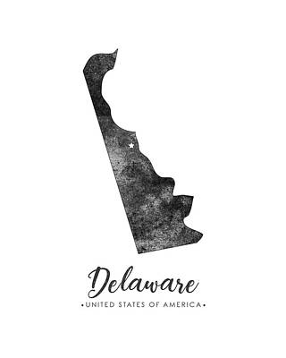 Delaware State Map Art - Grunge Silhouette Poster