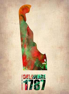 Delaware Watercolor Map Poster by Naxart Studio