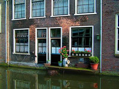 Delft Canal Geraniums Poster by Nick Diemel