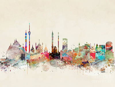 Poster featuring the painting Delhi City Skyline by Bri B